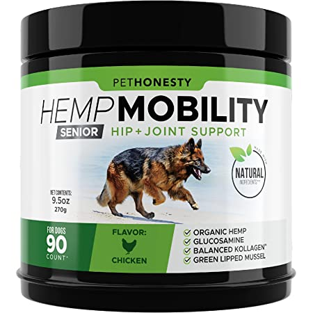 PetHonesty Senior Hemp Mobility - Hip & Joint Supplement for Senior Dogs - with Hemp Oil & Hemp Powder, Glucosamine, Collagen, MSM, Green Lipped Mussel, Dog Treats Improve Mobility, Reduces Discomfort