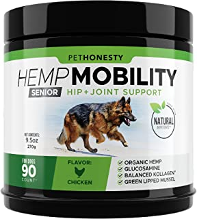 Senior Hemp Mobility - Hip & Joint Supplement for Senior Dogs - with Hemp Oil & Hemp Powder, Glucosamine, Collagen, MSM, G...