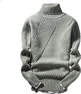 [シャロン グラニコ] メンズニット ケーブル編み ハイネック セーター 3色 黒 白 グレー ビジネス カジュアル