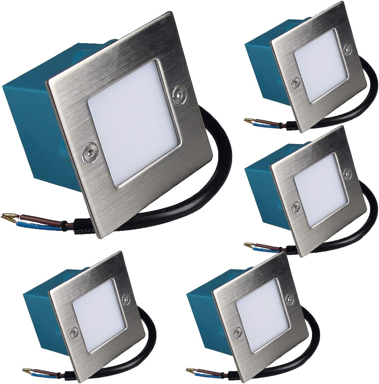 5 Stück LED Wandeinbaurahmen Lukas 230 Volt 1.5 Watt IP54 Treppenbeleuchtung Warmwei