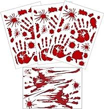 Horror Bloody Footprints Handprints Floor Clings Halloween Window Decals for Vampire Zombie Party Decorations Big Bare Footprint Fingerprint Bathroom Wall Stickers (3+1 Sheets Handprint)