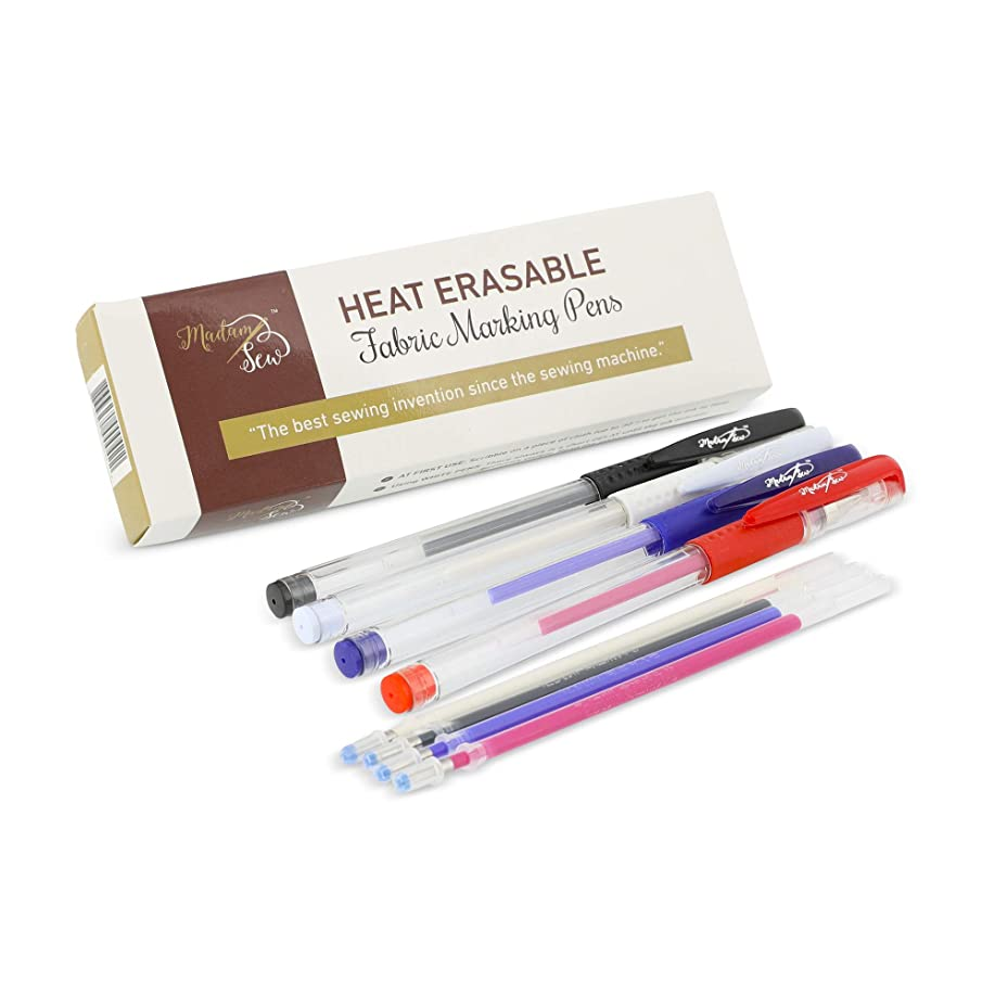 Heat Erasable Fabric Marking Pens with 4 Refills for Quilting, Sewing and Dressmaking (4 Piece Set)