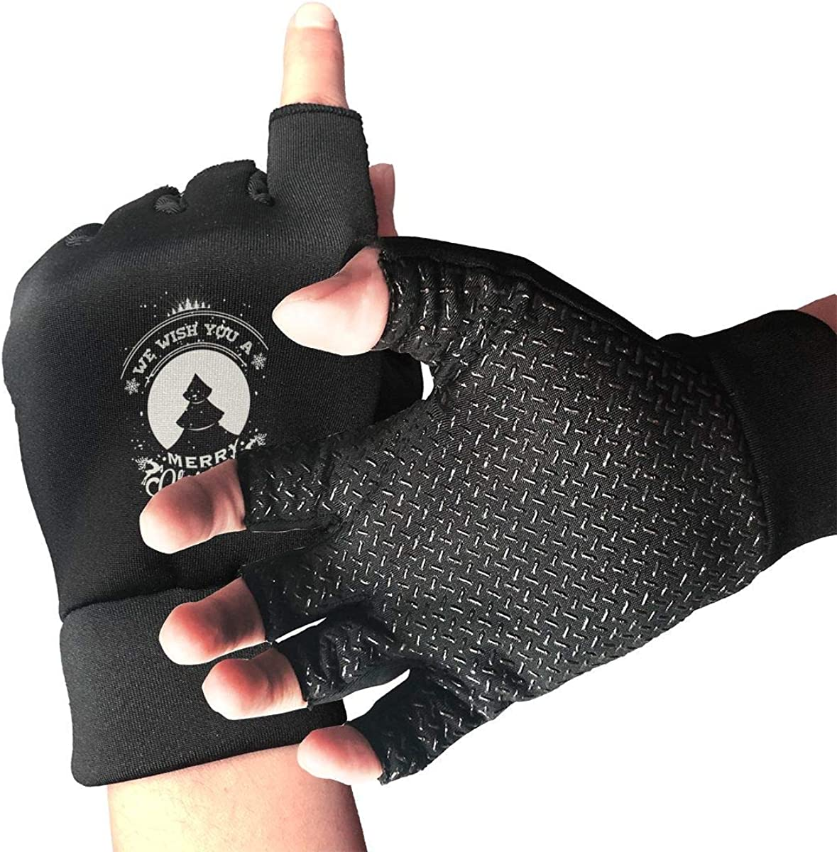Gloves Merry Christmas Tree Fingerless Gloves Short Touchscreen Gloves Winter Motorcycle Biker Mitten