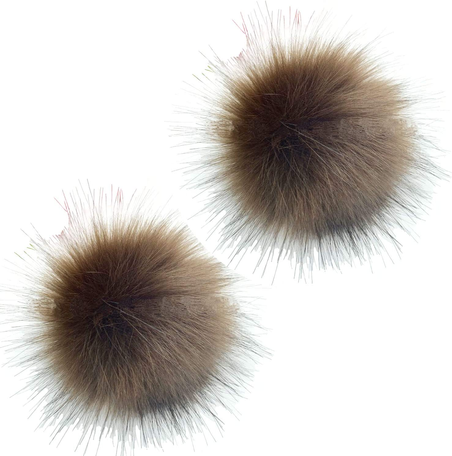 Faux Fur Pom Pom Balls DIY Faux Fox Fur Fluffy Pom Pom with Press Button for Hats Scarves Gloves Bags Accessories 2 Pieces Black 4