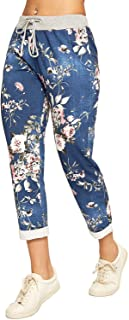 WearAll Women's Floral Print Drawstring Elasticated Trousers Ladies Jogging Bottoms Pants 8-14