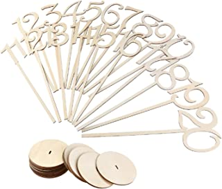 BestOffer Wedding Table Numbers 1-20 Wooden Table Numbers Party Card Holder Wood Centerpiece Banquet Set