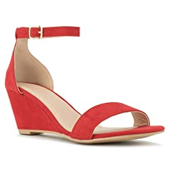 ea158baf3489 RF ROOM OF FASHION Women s Ankle Strap Low to Mid Wedge Sandals