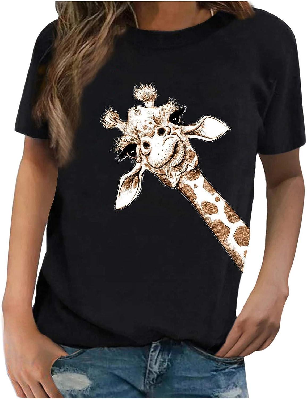 Forwelly Cute Giraffe Print T Shirt for Women Girl Summer Casual Short Sleeve O Neck Tee Shirt Tunic Top Blouse