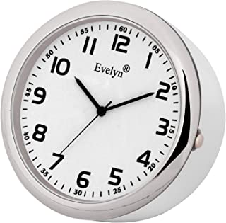 Evelyn Analog Table Clock Classic Small Round Alarm Car Dashboard Time Desk Watch White Size 45mm