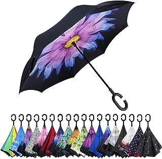 逆さ傘 ワンタッチ 車用傘 逆さま傘 逆折り式傘 自立傘 晴雨兼用 uvカット 手離れC型手元 撥水 耐風 丈夫 濡れない ビジネス用