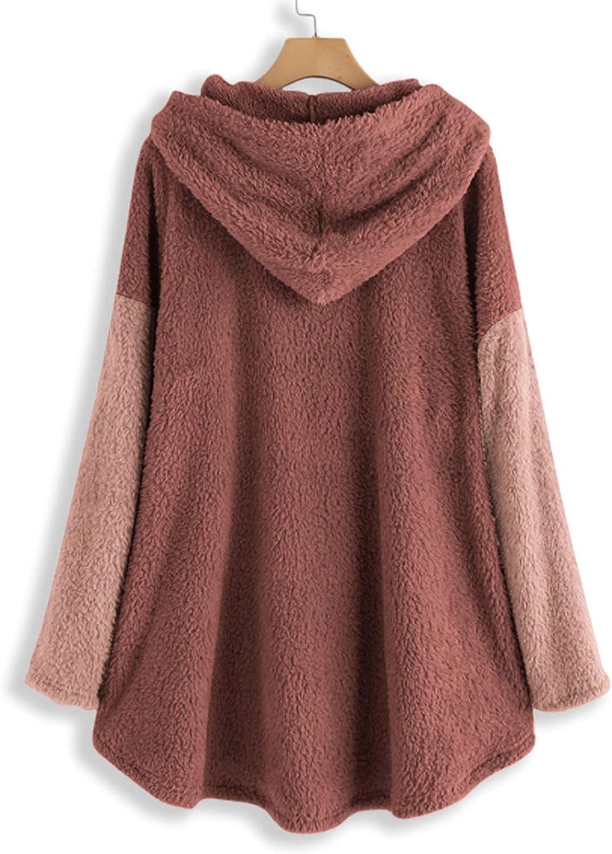 Women's Keep Warm Cardigan Hoodies Patchwork Button Down Sweatshirt Plush Hooded Coat Tops Raincoat