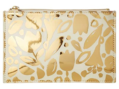 Kate Spade New York Floral Pencil Pouch (Golden) Travel Pouch