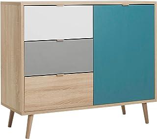 Newfurn Kommode Tricolor Sonoma Eiche Sideboard Modern - 103x87x40 cm (BxHxT) - Highboard Anrichte Skandinavisches Design - [Jona.one] Wohnzimmer Schlafzimmer Flur Esszimmer