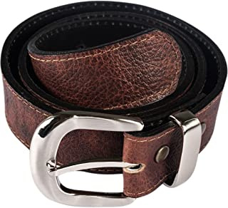 Brown Leather Money Belt with Interchangeable Buckle
