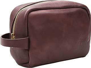 Leather Travel Toiletry Bag Bathroom Shaving Dopp Kit A005 (Brown)