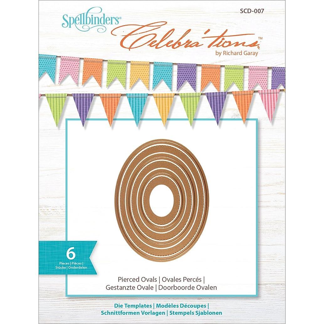 Spellbinders Celebrations Metal Paper Cutting Die Template, Pierced Ovals (Set of 6)-SCD-007