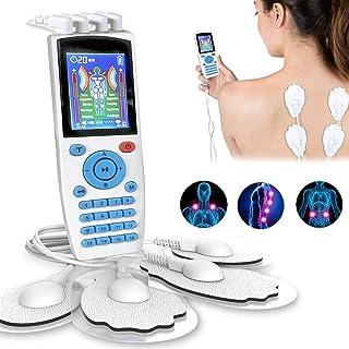 Electroestimulador Digital, para aliviar el Dolor Muscular y el fortalecimiento Muscular, Masaje, EMS, TENS, Pantalla LCD Azul, 4 Canales, 8 electrodos autoadhesivos, Color Blanco