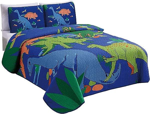 优雅的家居 Multicolors 蓝色绿色橙色恐龙设计月片床单床罩被子的孩子十几岁的男孩新恐龙双床