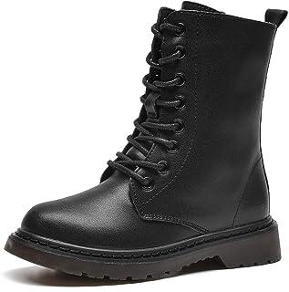 WUIWUIYU Boys Girls Waterproof Lace-Up Side Zipper Black Mid Calf Combat Boots Flat Leather Booties