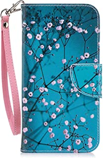 LG K30 Case, LG Premier Pro LTE Case, LG K10 2018 Case, JanCalm [Wrist Strap] [Kickstand] [Card/Cash Slots] Pattern Premium PU Leather Wallet Cell Phone Cases Flip Cover + Crystal Pen (Plum Blossom)