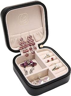 LELADY Small Jewellery Box Mini Travel Jewellery Boxes Case Portable Faux Leather Jewellery Storage Box Organiser for Women Girls (Black)