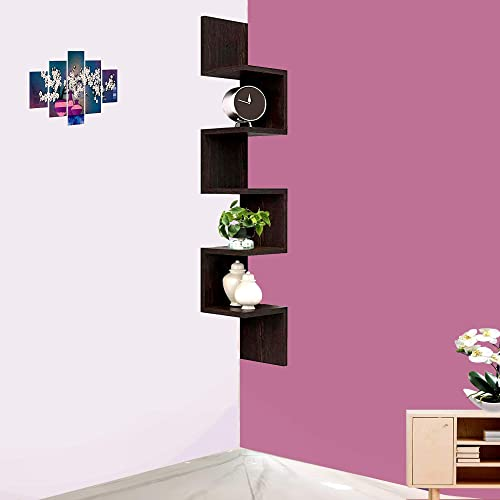 Furniture Cafe Zigzag Corner Wall Mount Shelf Unit Racks for Wall Decoration of Your Home Shop Office Colour Brown with Walnut Finish Square Plates Set of 2