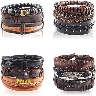 Silberdream pulsera de cuero unisex marrón tachuelas pulsera de cuero la5645b