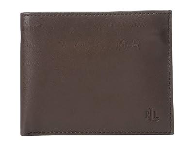 LAUREN Ralph Lauren Burnished Kid Passcase (Brown) Wallet Handbags