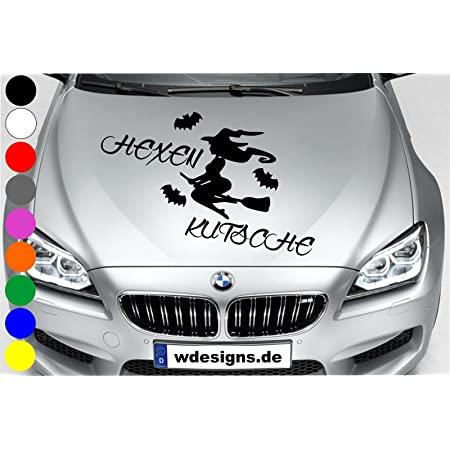 Wdesigns Autoaufkleber Hexe Hexenkutsche Fledermaus Tuning Aufkleber Motorhaube Spruch Auto