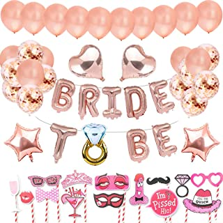 AivaToba Bride to Be Globos Banner para Fiestas de Despedida de Soltera con Globos de Oro Rosa, Confetti Globos , and Sccesorios para Cabinas de Fotos