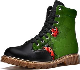 LORVIES Coccinelles Vertes Bottes d'hiver Chaussures Montantes en Toile à Lacets pour Hommes