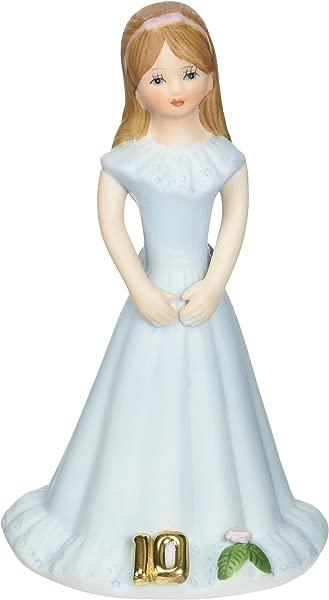 Enesco Growing Up Girls Brunette Age 10 Porcelain Figurine 5 5