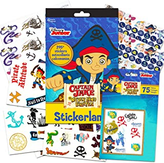 Jake and the Never Land Pirates Party Favors Pack for Kids Toddlers -- 75 Pirate Temporary Tattoos for Kids and 295 Stickers (Pirate Party Supplies)