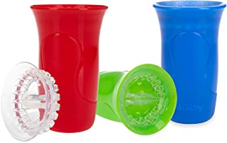 Nuby 3Piece No-Spill Smart Edge 360 Cup with Touch Flo Easy Clean Silicone Rim, 10 Oz, Boy (80771CS12)
