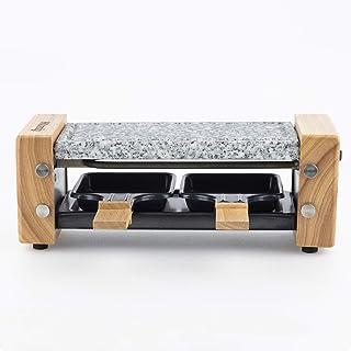 H.Koenig Appareil à raclette Duo Multifonction 2 personnes WOD2 Design en bois naturel, Pierre granit amovible, Raclette f...