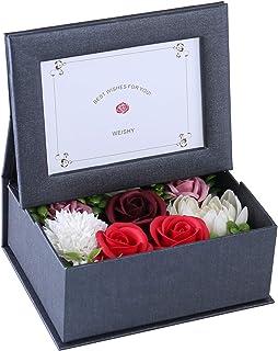 ソープフラワー 写真立て フラワー フォトフレーム ボックス 写真入り 誕生日 プレゼント 母の日 敬老の日 結婚祝い ギフト 枯れない花 フラワーアレンジメント (黒フレーム・レッド)