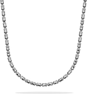 Romantico Casanova Barrel Crystal Collana (Argento) 4 mm Donna in Argento 925 - Made in Italy - BARREL Regalo San Valentino