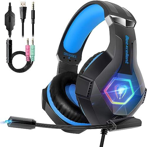 Cascos PS4 con Micrófono Flexible para Xbox One PC Nintendo PS4 Tableta Laptop, Auriculares con Premium Stereo, Oreje...
