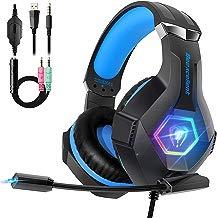 Beexcellent Cascos PS4 con Micrófono Flexible para Xbox One PC Nintendo PS4 Tableta Laptop, Auriculares con Premium Stereo, Orejeras Acolchadas Ligero Cómodo y Diadema Ajustable, Iluminación RGB