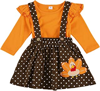Toddler Baby Girl Thanksgiving Outfit Ruffle Long Sleeve T-Shirt Top+Polka Dot Turkey Suspender Skirt Fall Winter Clothes