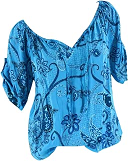 OULSEN Fashion Retro Floral Blouse For Women Short Sleeve V-Neck Lacing T-shirt Loose Casual Tunic Top Shirt Women Plus Size