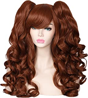 ColorGround Long Curly Cosplay Wig with 2 Ponytails (Brown Only)