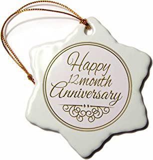3dRose ORN_193721_1 Happy 12 Month Anniversary. Gold Text 1 Year Together Anniversaries Snowflake Ornament, Porcelain, 3-Inch