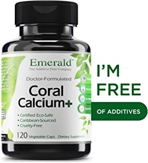Coral Calcium Plus -Highly Ionizable Coral Calcium from the Caribbean Sea - Helps Balance pH Levels, Support Strong Bones & Teeth, Weight Loss - Emerald Laboratories - 120 Vegetable Capsules