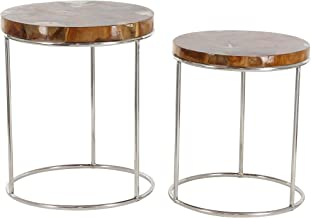 "Deco 79 21""/24"" Teak And Stainless Steel Side Table (Set of 2), Brown/Clear/Silver"