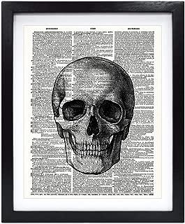 Susie Arts 8X10 Unframed Plain Skull Skeleton Anatomy Poster Upcycled Vintage Dictionary Art Print Book Art Print Home Decor Wall Art V200