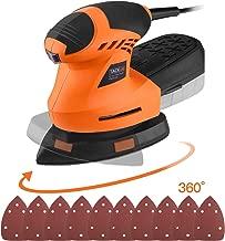TACKLIFE Levigatrice Mouse 200W, Piastra di Levigatura Rotante a 360°, 10 Pezzi Carta Abrasiva, Levigatrice Elettrica con Scatola Raccolta di Polvere, 12000 RPM per Levigatura, Cavo da 3metri PMS02A