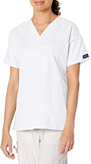 Cherokee Women's V Neck Scrubs Top, White, XXXX-Large
