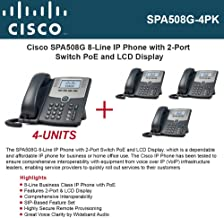 Cisco SPA508G (4-UNITS) IP Phone 8-Line with 2Port Switch PoE and LCD Display