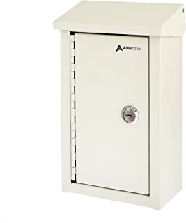 AdirOffice Outdoor Large Key Drop Box - Commercial Grade Heavy-Duty Storage Box - Safe & Secure Parcel & Packages - for Home & Business Use (White)